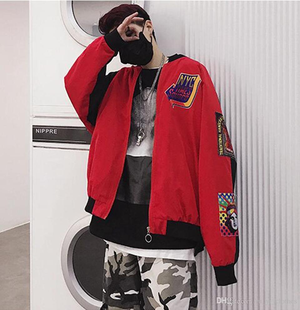Edición de hombre de la nueva era de época boutique de moda personalidad hip-hop tela pegada suelta chaqueta a juego de color S - 2 xl