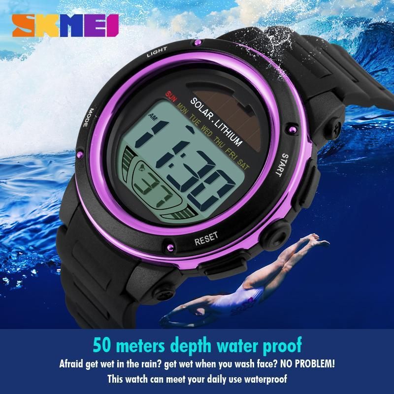 Watches Men's Watches Skmei Solar Digital Watch Men Energy Chronograph Sport Watches Water Resistance Outdoor Military Led Electronic Wristwatch 1096 Attractive Designs;