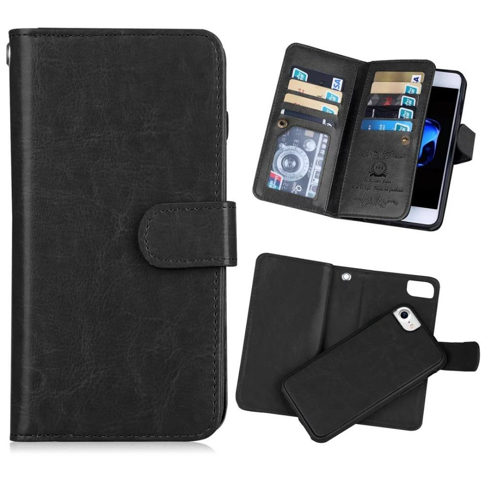 reputable site 2befa 4a9e7 BRG 2 In 1 Magnetic PU Leather Wallet Case for Iphone 5s se 6s plus 7 7  plus 8 plus X 9 Card Slots Flip Folio Stand Phone Bag
