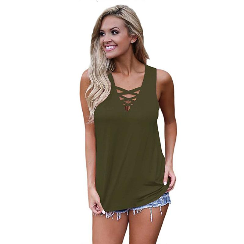 25dcd9f9cf4c70 2019 Summer Sexy V Neck Tank Top Women Solid Loose Sleeveless Casual ...