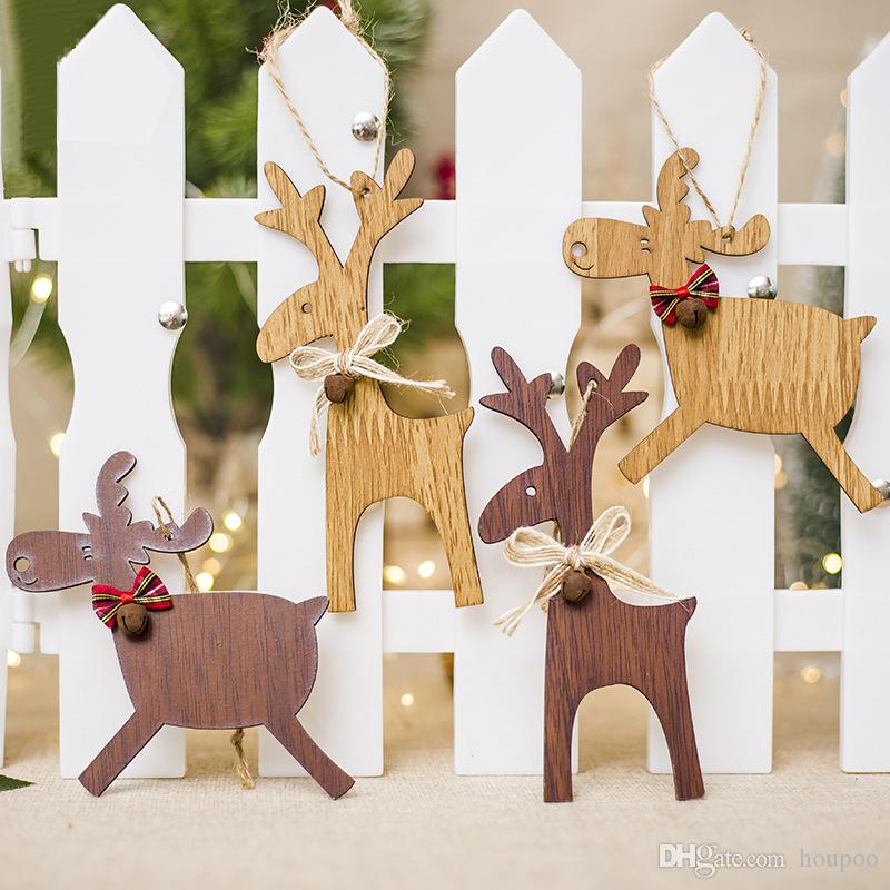 4 styles wooden deer pendant xmas tree decor christmas ornament wedding party decoration home decor festival favor grafts christmas room decor christmas - Wooden Deer Christmas Decorations