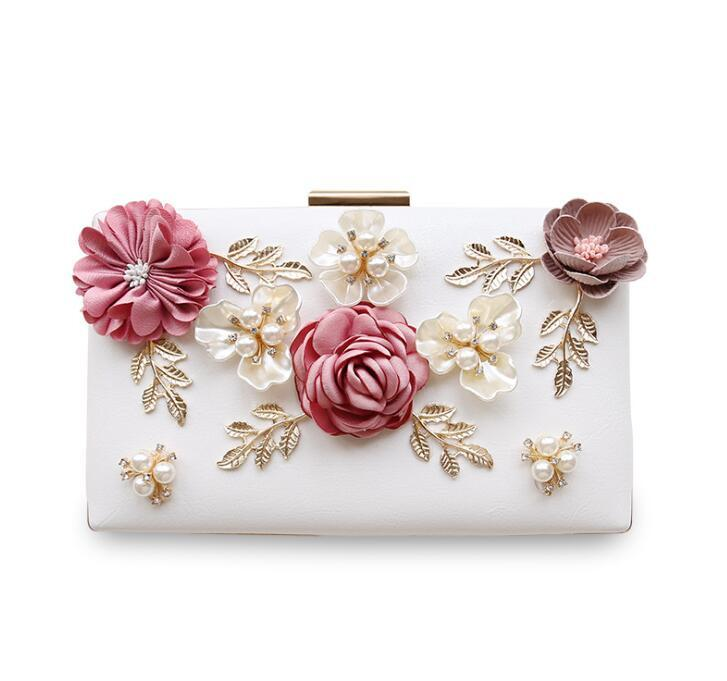 2017 Luxury Handmade Pearl Flower Evening Bag Women Fashion Day Clutch  Weeding Party Bridal Small Handbag Purse With Chain Bolso Leather Briefcase  Wholesale ... 9320ce31b84f