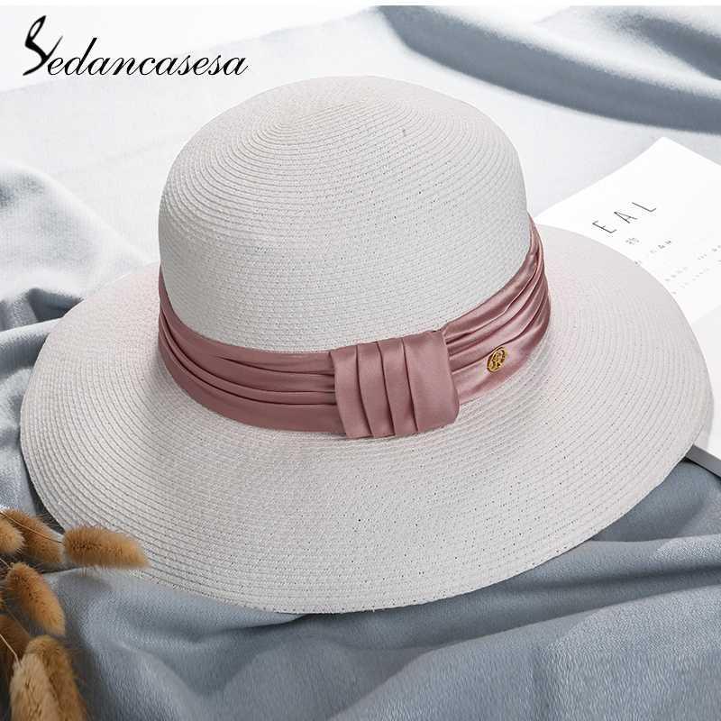 78721aabf8712 Sedancasesa 2018 Women Folding Straw Hats for Women Handmade Beach ...