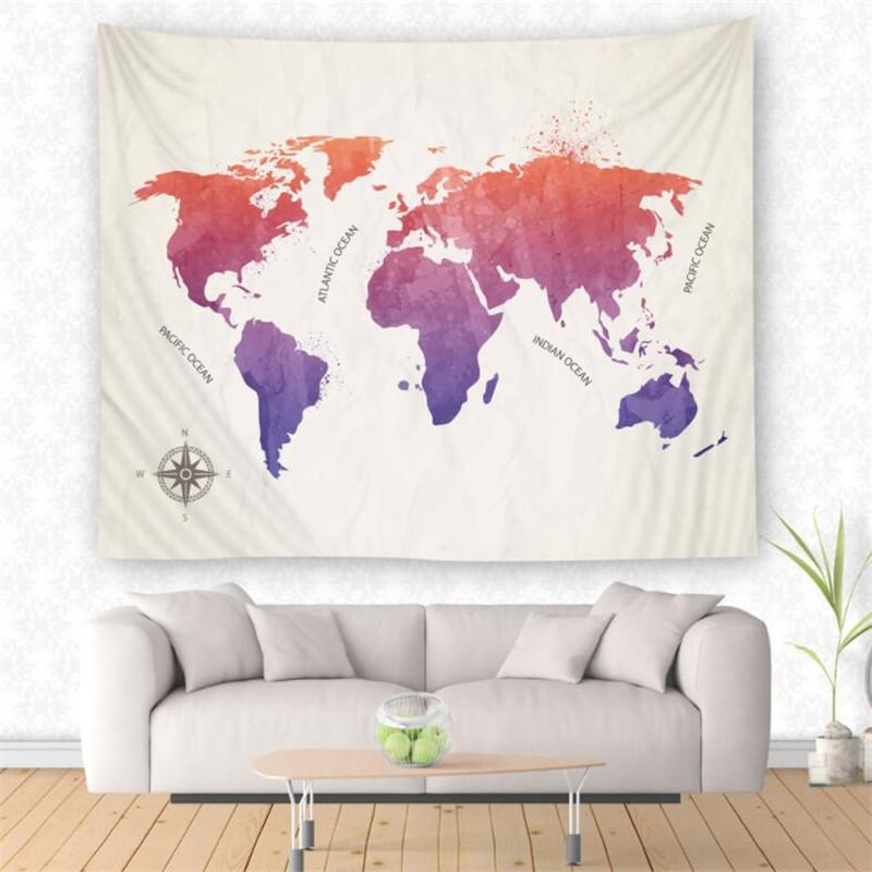 World Map Tapestry Abstract Painting Wall Hanging Tapestry Home