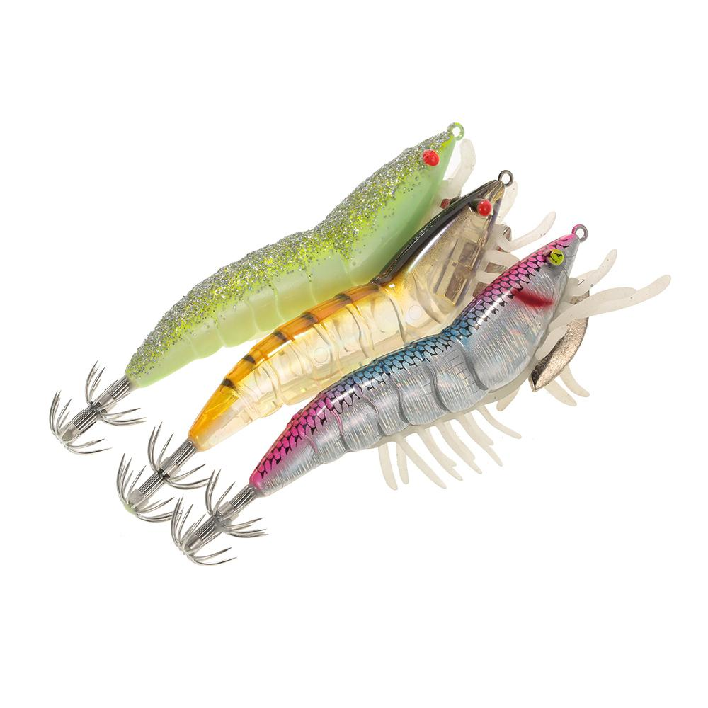 3Pcs 12Cm 21G Noctilucent Fishing Shrimp Lure Prawn Squid Bait Artificial Fishing Hard Lure Set With Squid Jigs Hook