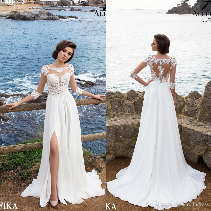 6d3ce5a48b Discount 2018 Beach Wedding Dresses Sheer Scoop A Line Chiffon Split Side  See Through Lace Applique With Quarter Sleeves Bridal Gowns Online Wedding  Gowns ...