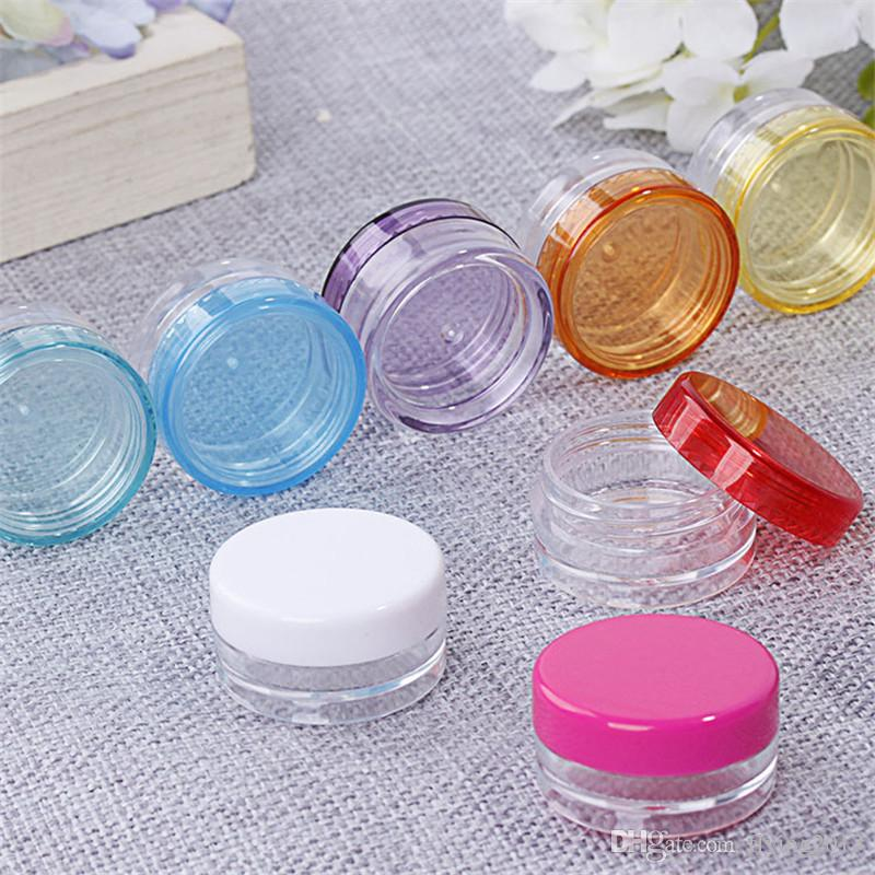 3g 5g Cosmetic Sample Empty Container Plastic Clear Cosmetic Pot Jars for Eye Shadow, Nails, Powder, Jewelry with Free Spoon
