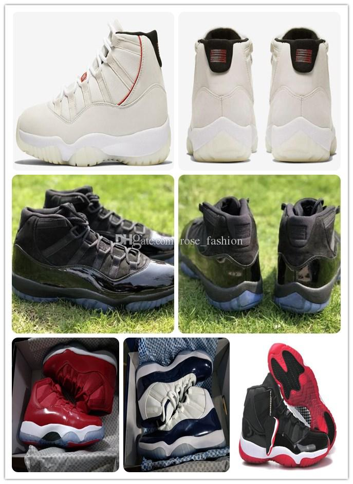 11 Platinum Tint concord Prom Night basketball shoes 11s space jam bred Gym red Midnight Real carbon fiber XI Sports Shoes original box