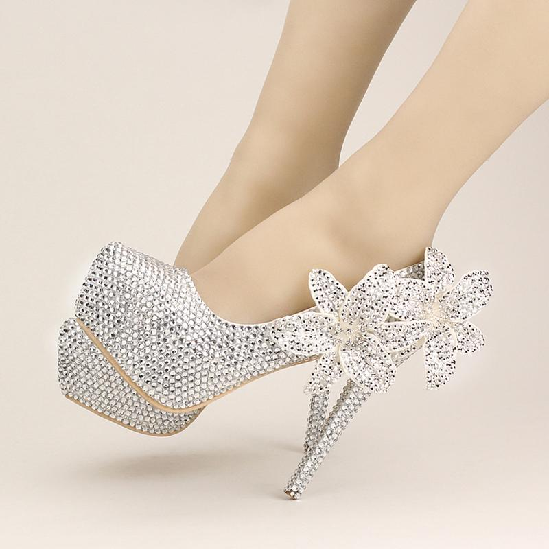 7e02425916fc Platform High Heels 14cm Silver Women Wedding Shoes Crystal Floral Bride  Stiletto Pumps Ladies Sexy Party Shoes Women Footwear Mens Dress Shoes Prom  Shoes ...