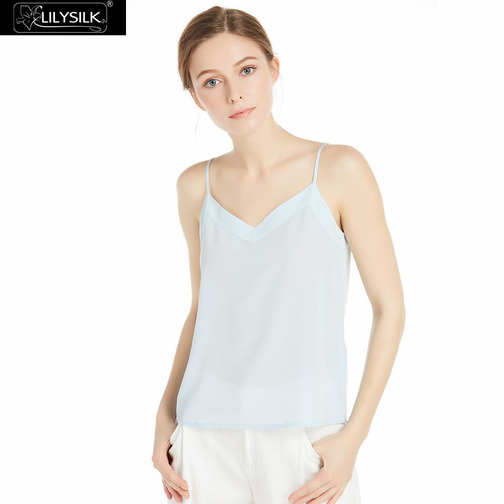 22f62e1514 2019 LILYSILK Women s Silk Camisole 100 Pure 18 MM Soft Flattering Basic  Back Cross Strap Ladies Tank Top Pale Blue From Morph1ne