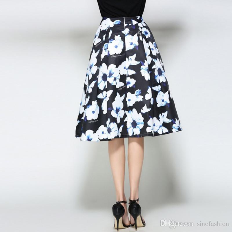 98cd5f59c Compre Las Mujeres Faldas Largas De Cintura Alta Imprimir Plisado Vestido  De Bola De Las Señoras De La Moda Elegante Una Línea Falda De Vestido ...