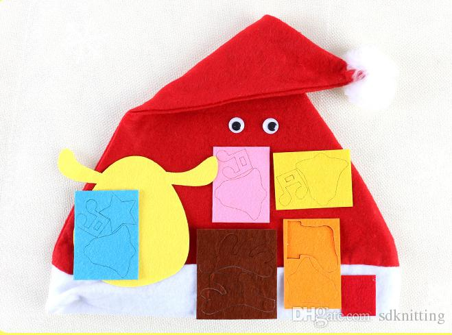 DIY Christmas hat Kindergarten hand-made materials puzzle toys non-woven children DIY Christmas Decorations Hat Gifts