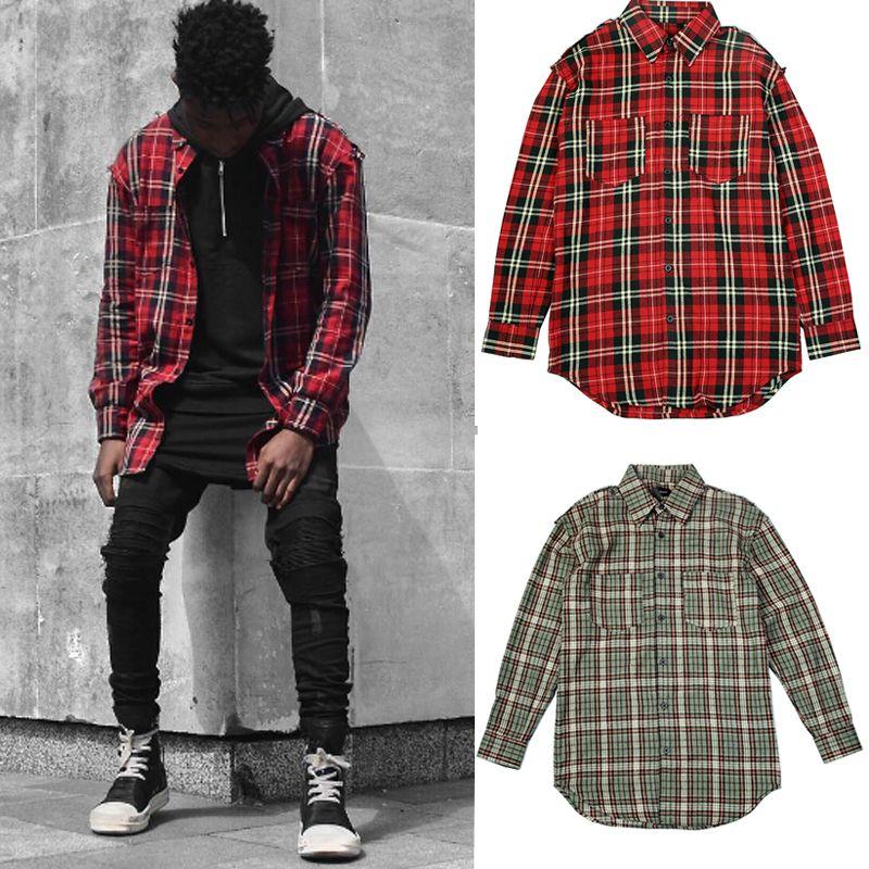 e7fec9a3 GOOD Quality Men's Casual Damage Red Plaid Shirts Man Autumn Slim Fit  Comfort Soft Flannel Cotton Plaid Long Shirt wear
