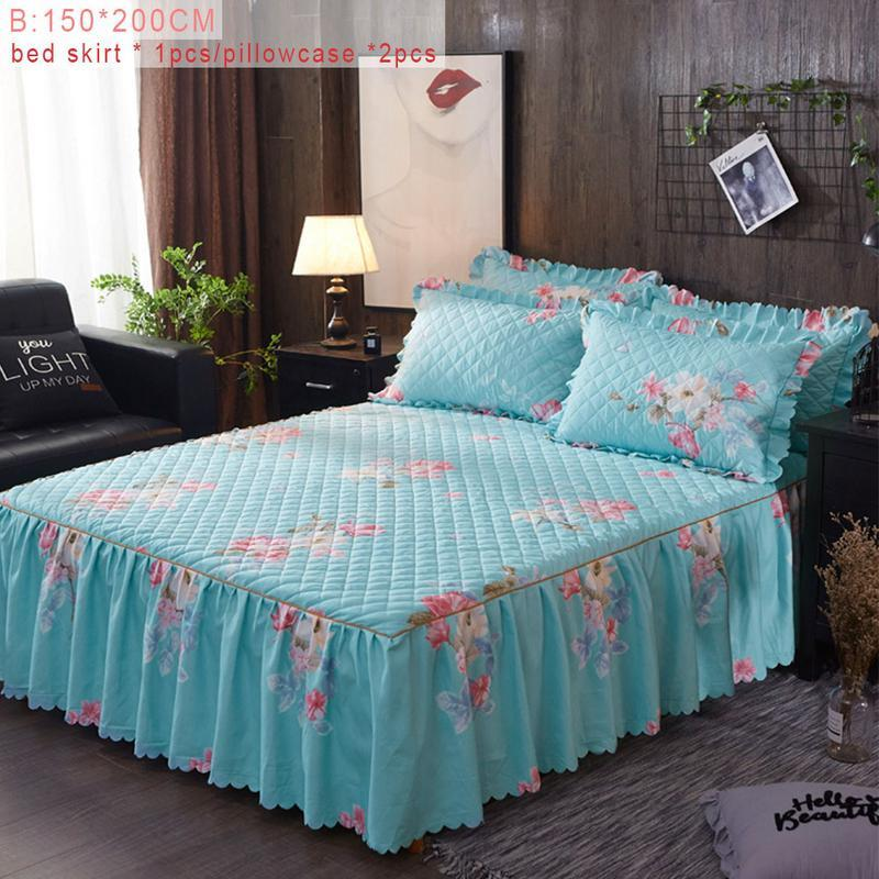 Bed Cover Fashion Couvre Lit Winter Floral Print Quilted Thickened