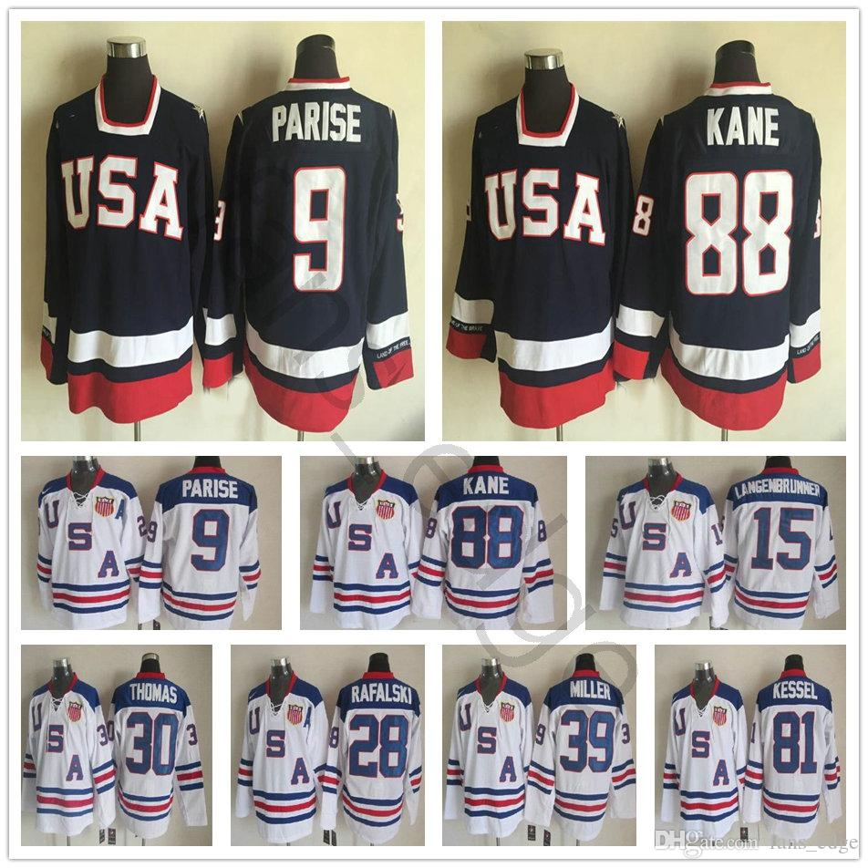 d98433a98 2019 2010 Olympic Team USA Hockey Jerseys 88 Patrick Kane 9 Zach Parise  White Blue 81 Kessel 28 Rafalski 39 Miller 15 Langenbrunner Jersey From ...