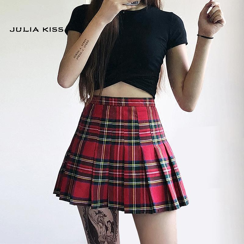 6bcaeb6556 2019 Women Preppy Style Check Pleated Skirts With Safety Shorts Plaid Mini  Skirts High Waist Pleated Skirt From Shipsoon, $26.88 | DHgate.Com