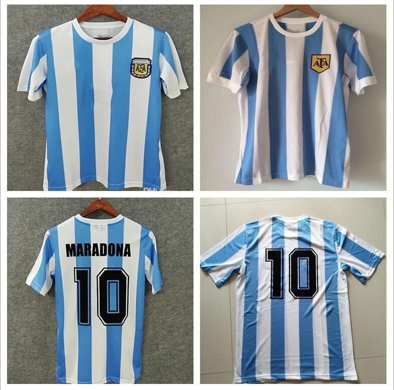 86 Argentina Retro Soccer Jersey Maradona 1986 Vintage Classic 78 ... f322b8c54