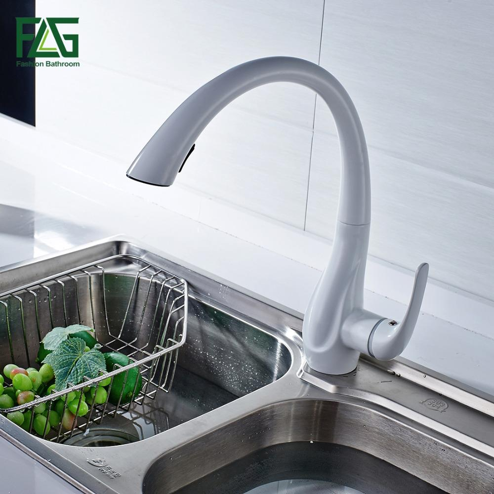 2019 Spring Style White Kitchen Faucet Pull Out Brass Sprayer Swivel