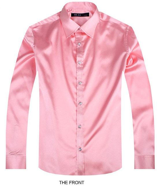 2017 Pink Luxury the groom shirt male long sleeve wedding shirt men's party Artificial silk dress M-3XL 21 colors FZS27