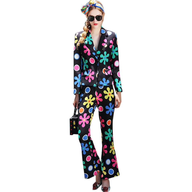 2019 Unique European American Women Fashion Pants Suits Slim Blazer Flare  Trousers Printed Sets Runway Plus Size XXXL Outfit From Bunnier 1ab8f237b880
