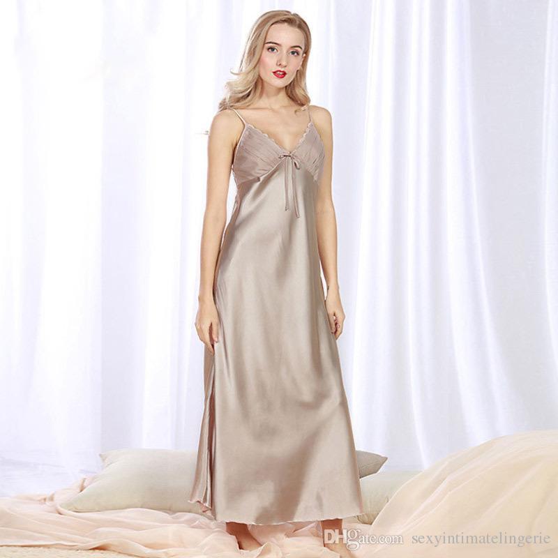 fd9d447519d1 2019 Luxury Summer Lounge Long Sleeping Dress Satin Silk Pajama V Neck  SleepSkirt Sleeveless Lady Nightgown Homewear Pijama Feminino From ...