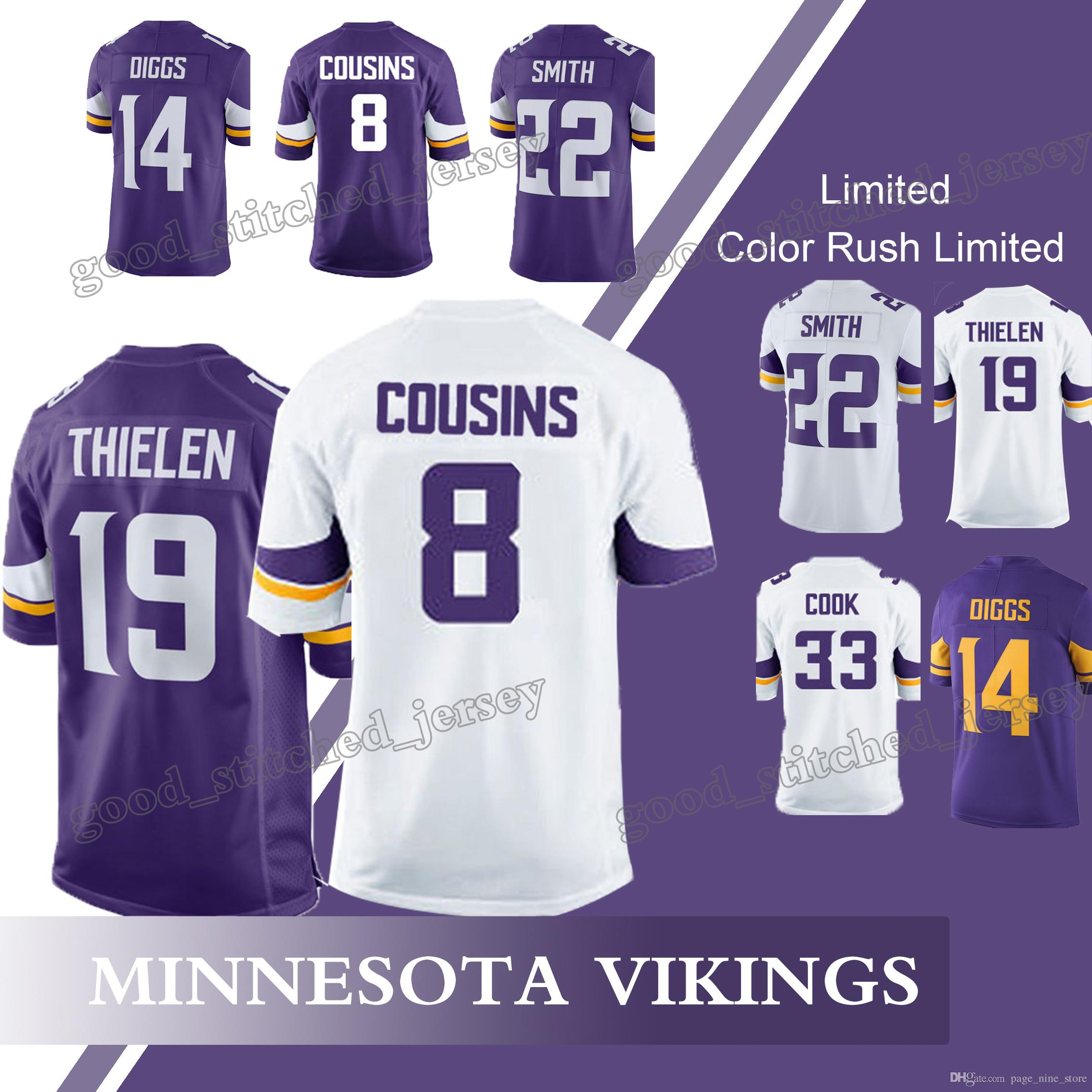 8df4a99f ... low price minnesota vikings jerseys 19 adam thielen 8 sam bradford kirk  cousins 22 harrison smith ...