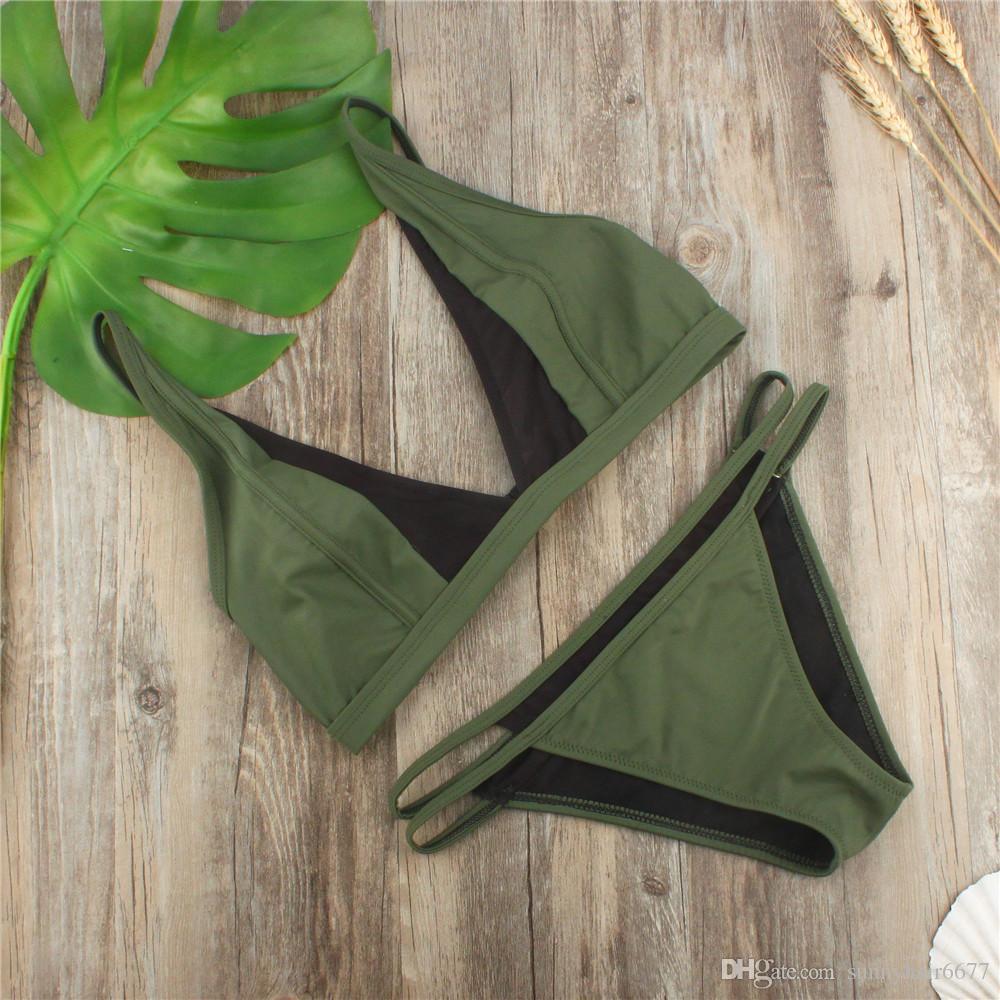 Seksi Gazlı bez Bikini Kadınlar Bandaj Bikini Seti Push Up Mayo Kadın Mayo Vintage Mayo Kadınlar Biquin 988