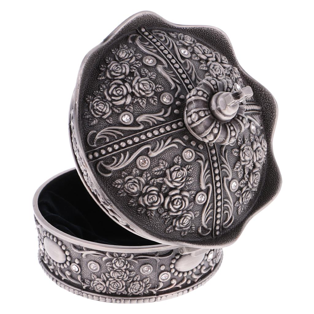 Vintage Pewter Crown Design Jewelry Box Decorated with Rose Sculpture Creative Gift Present Room Accessories