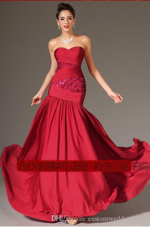 free shipping robe de soiree courte fashion sexy red long chiffon vestido de festa party floor length gown evening Dresses