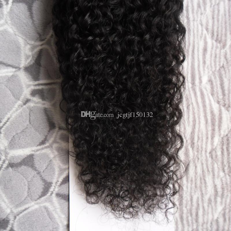 Cor Natural afro crespo crespo cabelo encaracolado 100g Humano Pre Bonded Fusão Do Cabelo Eu Sugestão Vara Queratina Remy Duplo Desenhado Extensão Do Cabelo