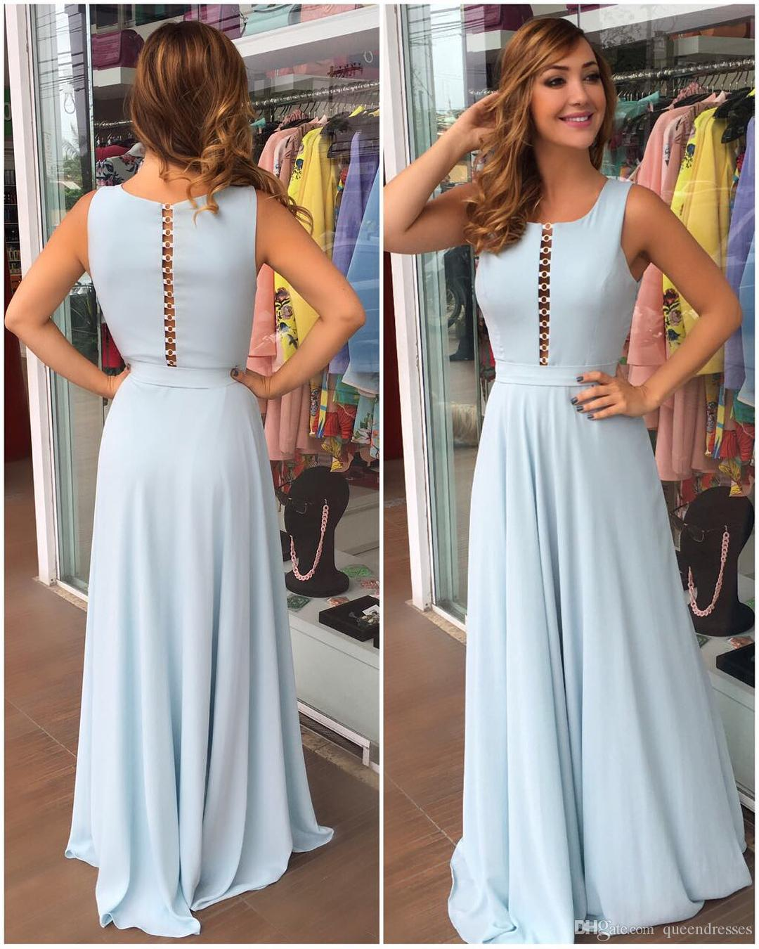 Cheap Long Evening Dresses Light Sky Blue Jewel Cap Sleeve Chiffon Sheath Evening Gowns Floor Length Special Occasion Party Dresses 2018
