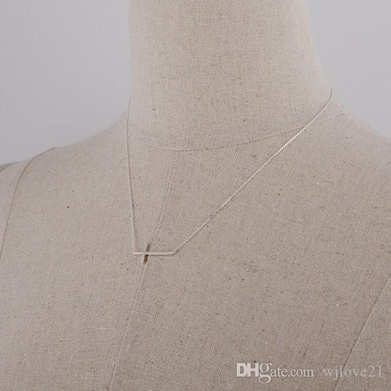 Fashion 18k Gold plated Necklaces silver plated Cross Necklace Pendant Necklace for women gift Wholesale