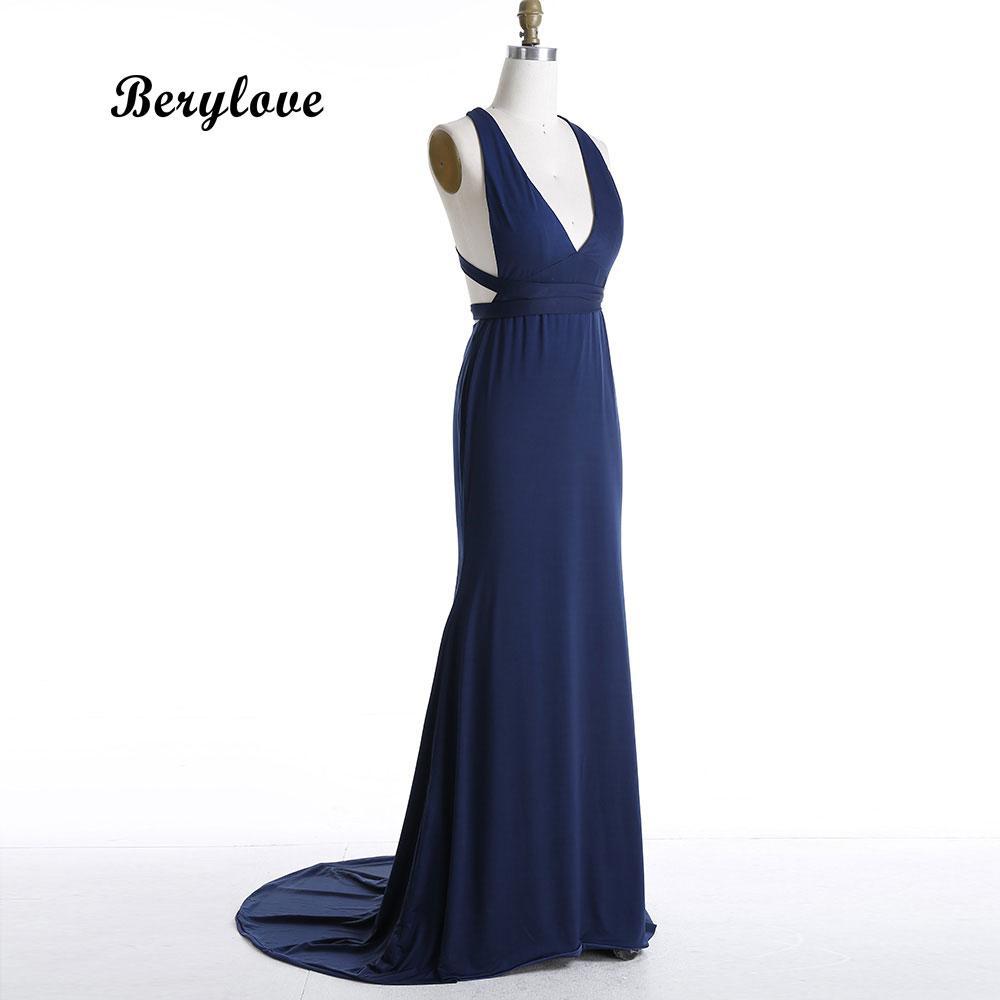 BeryLove Sexy Navy Blue Mermaid Prom Dresses 2018 Deep V Neck Bandage Evening  Dresses Long Women Party Dress Formal Gowns Maxi Evening Dress Monsoon  Evening ... a5915fdda8f0