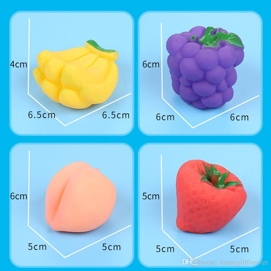 Baby Bath Toys Children Bathtub Toy Fruits Kids Bathroom Water Play Toy Rubber Squeeze Float Sounding Dabbling Toys