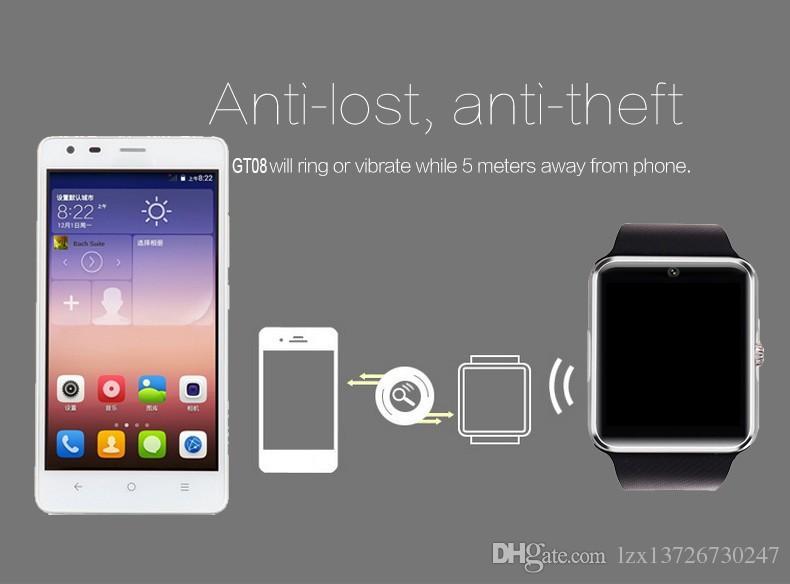 Akıllı saatler Android akıllı telefon için kadın ve erkek GT08 desteği SIM Kart TF kartı için bluetooth seyretmek telefonları Smartwatch'larda