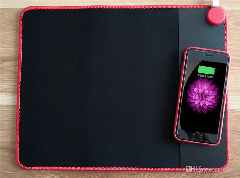 Cojín de ratón inalámbrico de carga 2 en 1 Cojín inalámbrico de cargador inalámbrico para iPhone X 8 8 Plus Samsung Note 8 S8 S7 S6