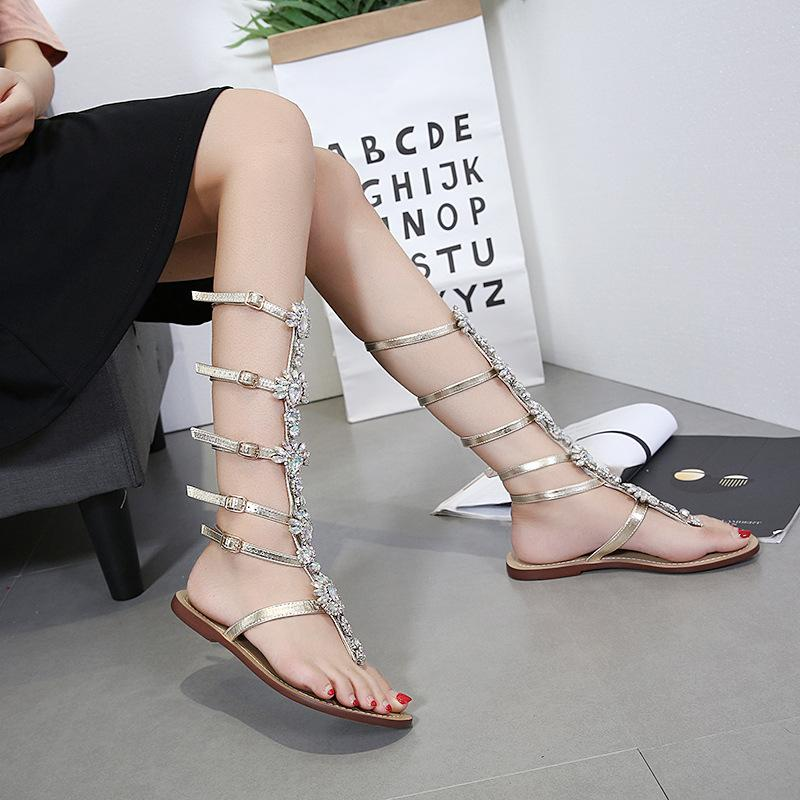 cfff2c18226f 2018 Women s Cool Care Heel Summer Beach Rhinestone Toe Metal Chain ...