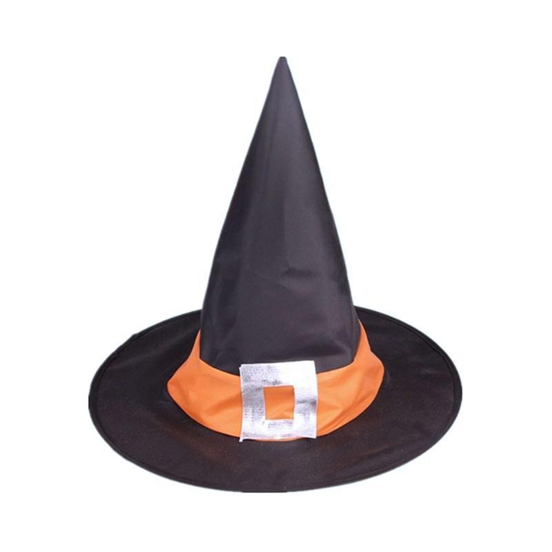 creative halloween party square buckle pattern festive witch hat