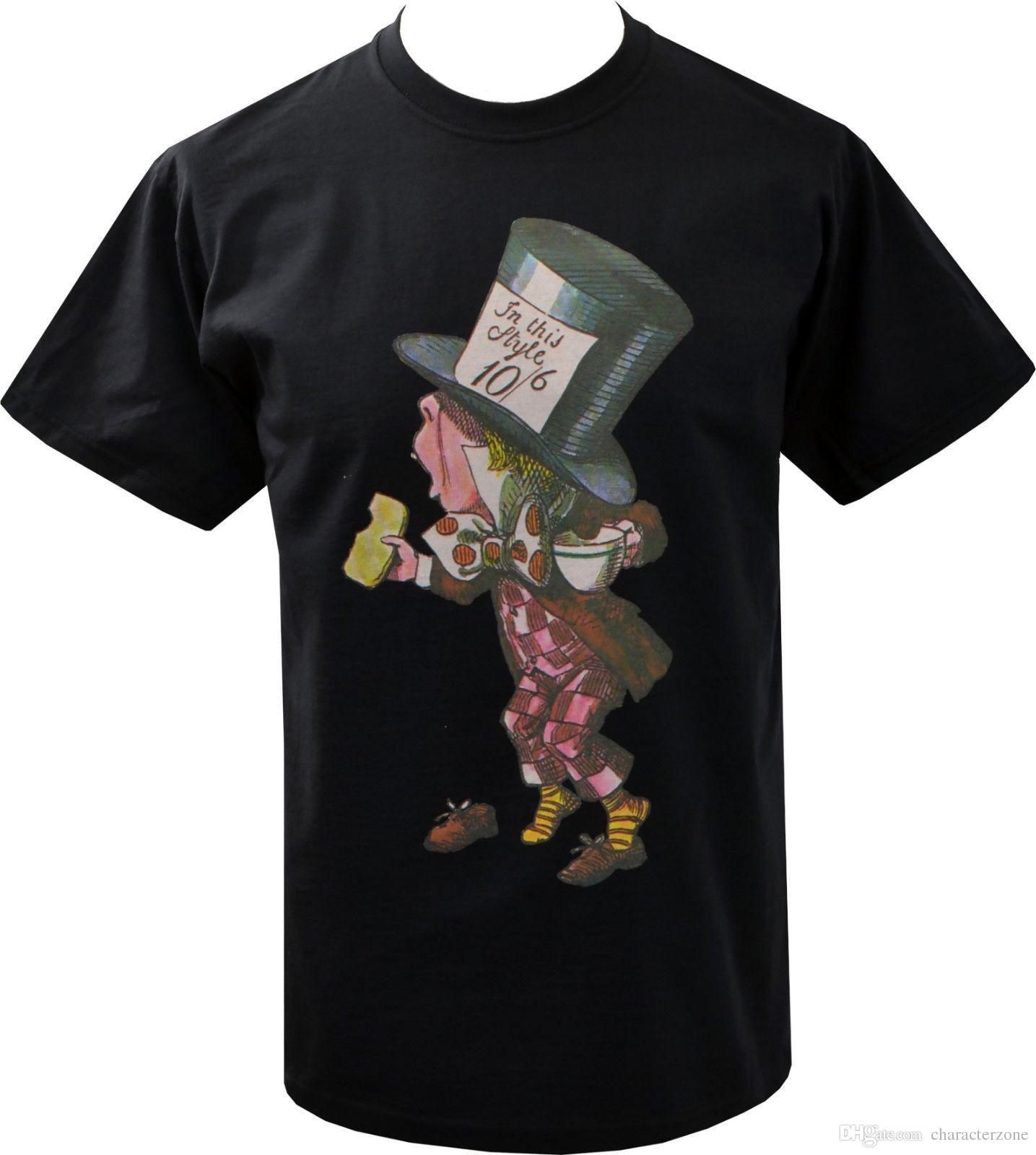 Alice Im Wunderland Print T-shirt Schwarz Wir Sind Verrückte Hier Kurzarm T-shirt Sommer Oberteile Und T-shirts