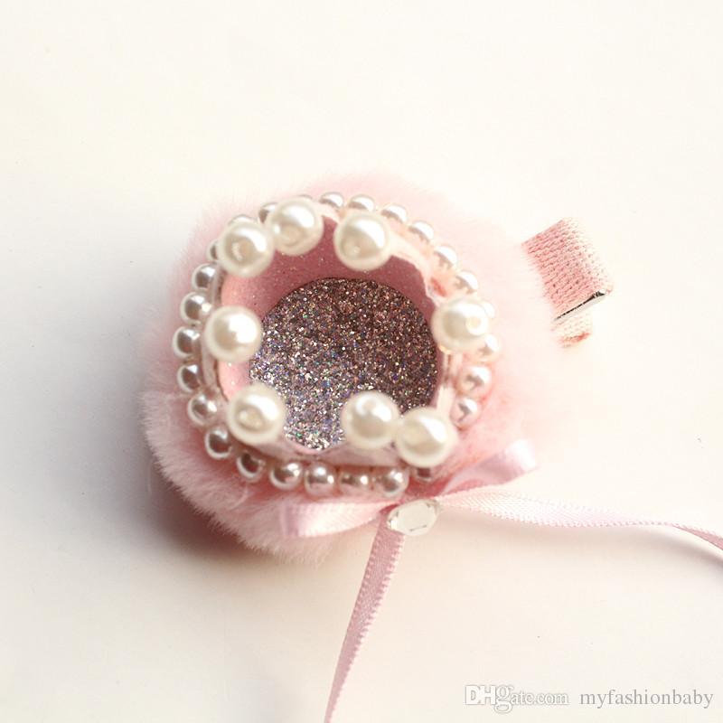 2018 New Delicated Girl Prince Crown Hair Clip Ribbow Barrette Luxury Korean Cute Hair Pearls