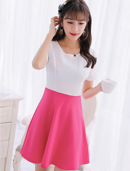 7fb317374e65 Spring Summer Dress Women Clothing Bodycon Dress Korean Cute Patchwork  Short Sleeve Dress Fashion Rose Girl Vestidos White Summer Lace Dress  Dresses For ...