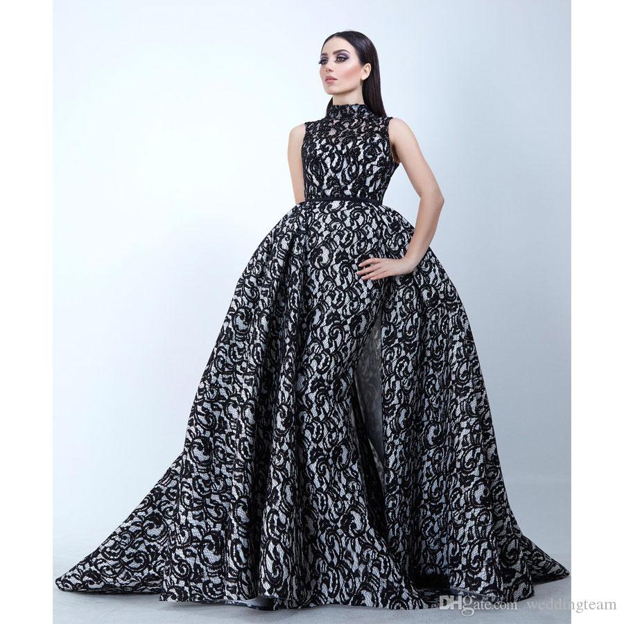 Yousef Aljasmi Meerjungfrau Spitze Abendkleider mit abnehmbarer Zug Perlen arabisch Prom Kleider Gown Sweep Zug High Hals formales Kleid