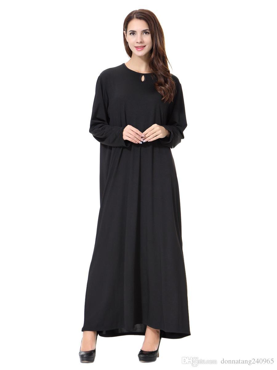 acbf72c2e Compre Chegada Nova Manto Preto Islâmico Abayas Muçulmano Vestido Longo  Para As Mulheres Malásia Dubai Turco Senhoras Roupas De Alta Qualidade Robe  De ...