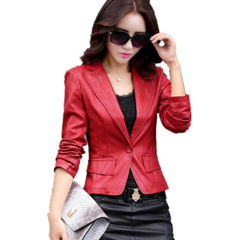 461a26f912 new arrive leather blazer female 2017 spring women s leather jacket ladies  clothing fashion short coats plus size 4XL