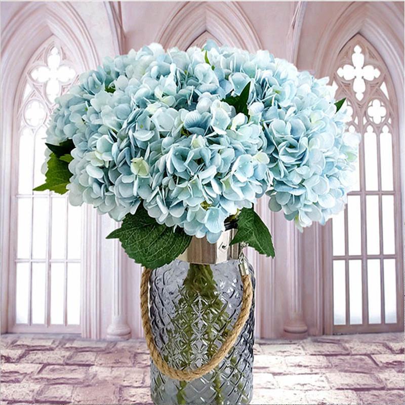 Compre Flores Artificiales Seda Flores Hortensia Novia Ramo De Bodas