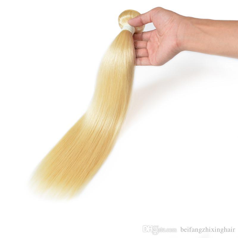 최고 품질의 실크 스트레이트 웨이브 헤어 번들 100 % 인간 페루 머리 100g / pc많이, 24inch 색상 613 # P6 / 61326Inch 갈색 색 4 #, 9 로트