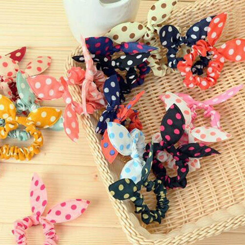10 Pcs/lot Cute Bunny Baby Girl Flower Hair Clip Headband Rabbit Ears Dot Headwear Elastic Hair Band Rope