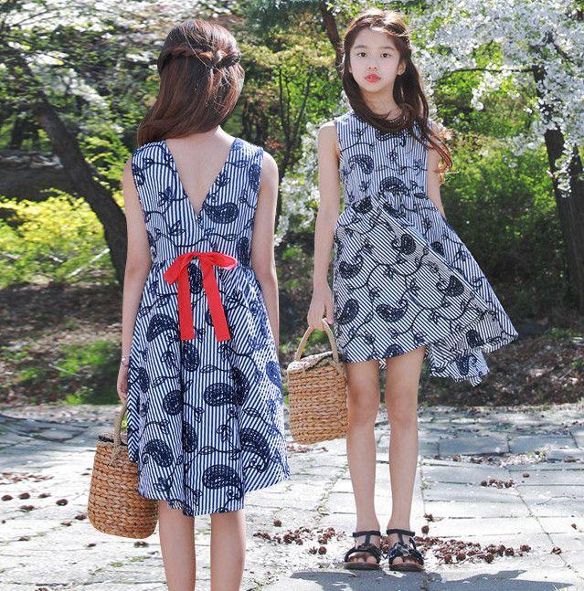 25102b847 Children Stripes Vest Dress Girls Flowers Printed Princess Dress ...
