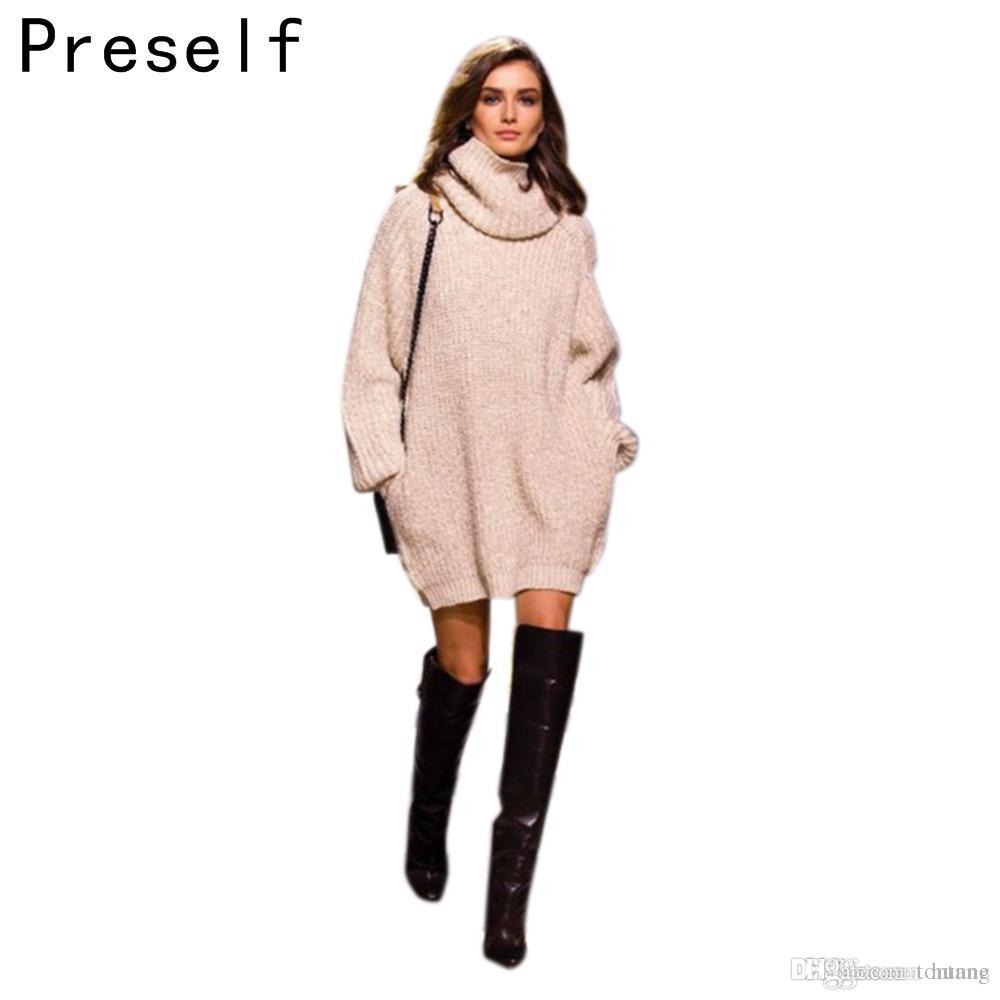 139026cf27 2019 Wholesale Preself Autumn Winter Women Pullover Oversized Jumper  Thickening Female Fall Turtleneck Warm Knitwear Knitted Sweater From  Tontang