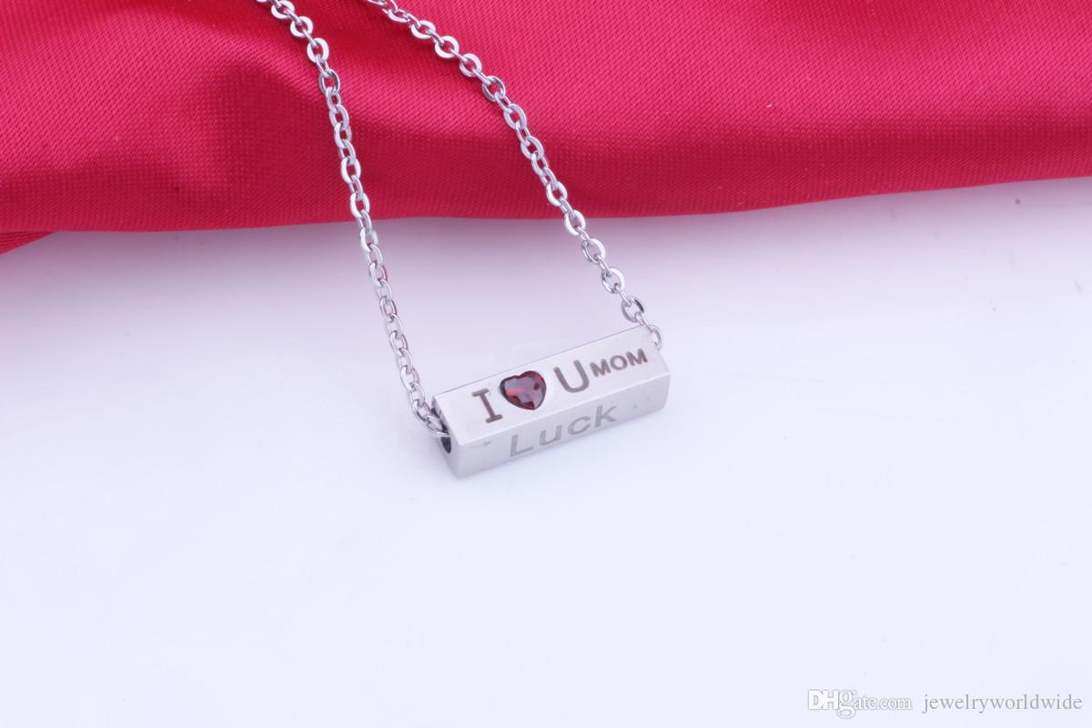 Stainless Steel Rectangle Necklace With Red Zircon Print I Love You Mum Belief Wisdom Luck Silver Or Rose Gold For Mother Day